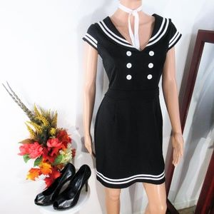 Hell Bunny Vixen Black White Sailor Mini Dress